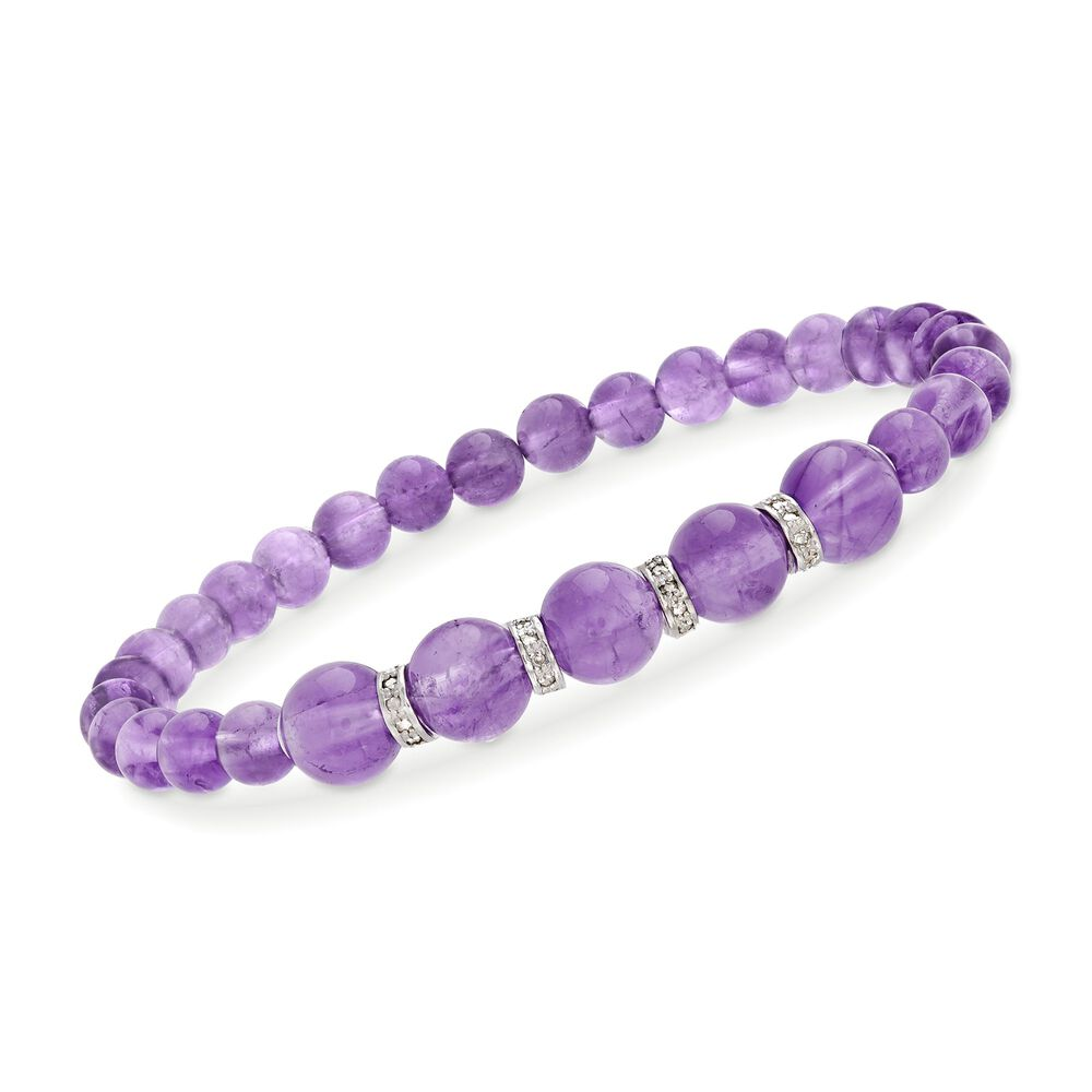 6 8mm Graduated Amethyst Bead And 24 Ct T W Diamond Er Bracelet In