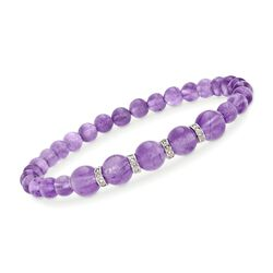 6-8mm Graduated Amethyst Bead and .24 ct. t.w. Diamond Spacer Bracelet in Sterling Silver, , default