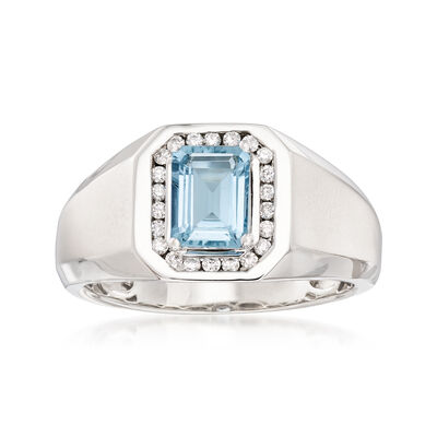Men's 1.10 Carat Aquamarine and .22 ct. t.w. Diamond Ring in 14kt White Gold, , default