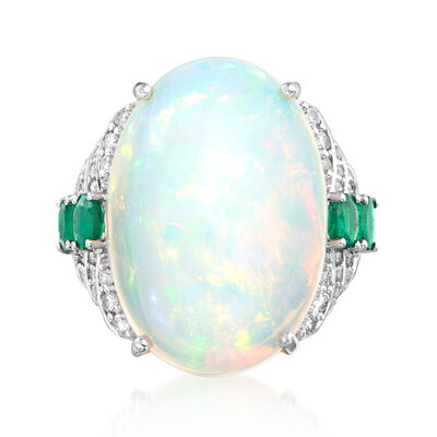 Opal, .60 ct. t.w. Emerald and .43 ct. t.w. Diamond Ring in 18kt White Gold