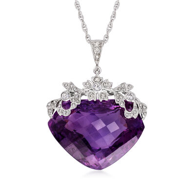 C. 1990 Vintage 30.00 Carat Amethyst and .45 ct. t.w. Diamond Heart Pendant Necklace in 14kt White Gold