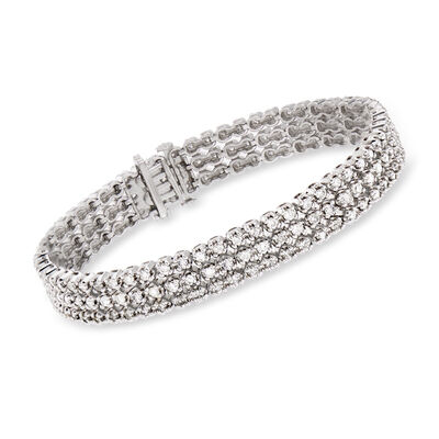 5.00 ct. t.w. Diamond Three-Row Tennis Bracelet in 14kt White Gold, , default