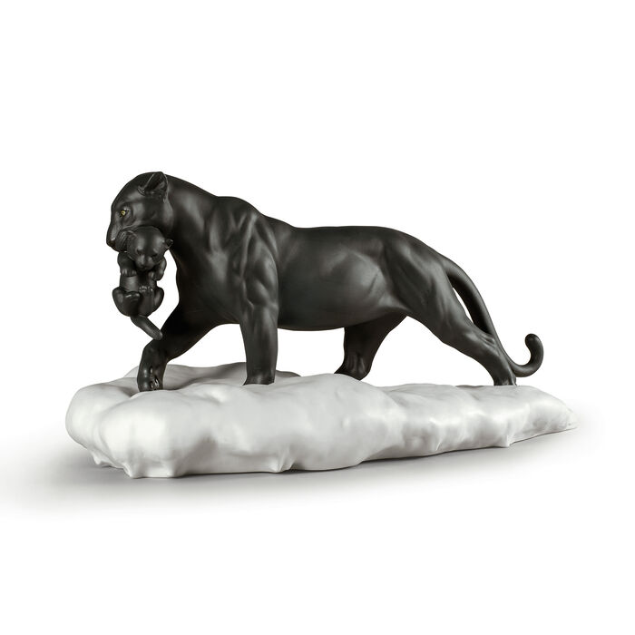 Lladro Black Panther with Cub Porcelain Figurine