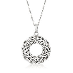 "Sterling Silver Byzantine Open Circle Pendant Necklace. 18"", , default"