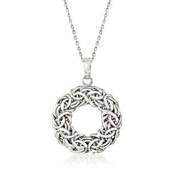 """Sterling Silver Byzantine Open Circle Pendant Necklace. 18"""", , default"""