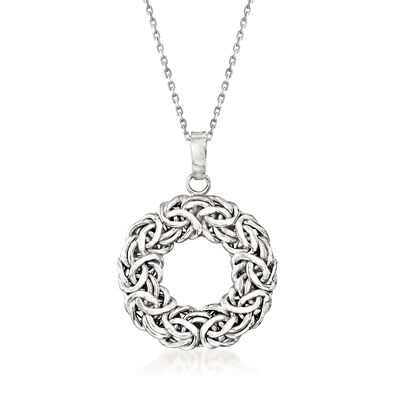 Sterling Silver Byzantine Open Circle Pendant Necklace, , default