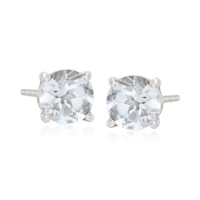 .80 ct. t.w. Round Aquamarine Stud Earrings with Teacup Settings in Sterling Silver, , default