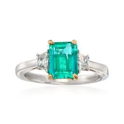 C. 1990 Vintage 1.65 Carat Emerald and .50 ct. t.w. Diamond Ring in 14kt Two-Tone Gold. Size 6.25, , default