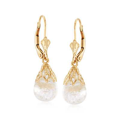 Floating Opal Drop Earrings in 14kt Yellow Gold