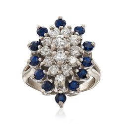 C. 1970 Vintage 1.20 ct. t.w. Sapphire and 1.00 ct. t.w. Diamond Cluster Ring in 14kt White Gold. Size 5, , default
