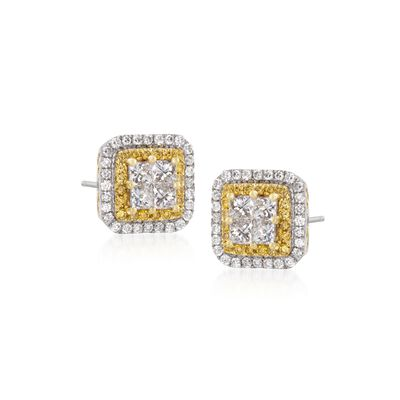 Gregg Ruth 1.11 ct. t.w. Yellow and White Diamond Stud Earrings in 18kt White Gold, , default