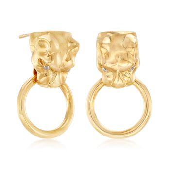 Italian 18kt Yellow Gold Over Sterling Silver Panther Head Doorknocker Earrings with CZ Accents , , default