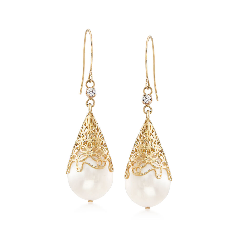 46b0703b20591 11-12mm Cultured Freshwater Pearl Drop Earrings with .10 ct. t.w. Diamonds  in 14kt Yellow Gold