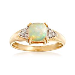 Ethiopian Opal Ring With Diamond Accents in 14kt Yellow Gold, , default