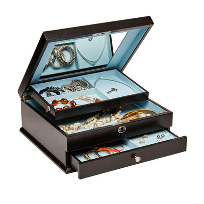 "Mele & Co. ""Monroe"" Java Wooden Locking Jewelry Box, , default"