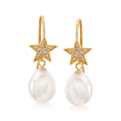 8-8.5mm Cultured Pearl and .10 ct. t.w. White Topaz Star Drop Earrings in 14 Yellow Gold