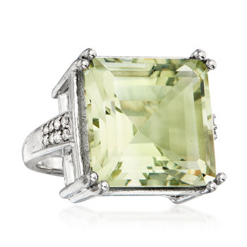 16.15 Carat Prasiolite and .19 ct. t.w. Diamond Ring in Sterling Silver