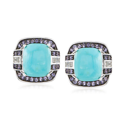 Turquoise and .70 ct. t.w. Multi-Stone Drop Earrings in Sterling Silver
