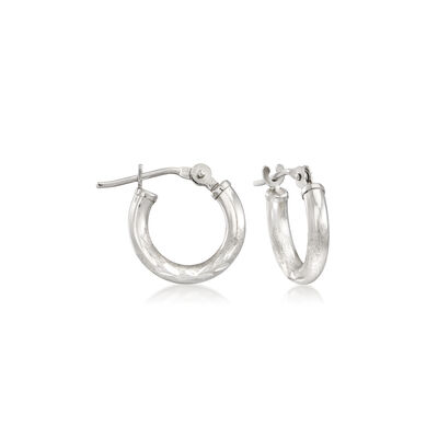 Child's 14kt White Gold Diamond-Cut Huggie Hoop Earrings, , default