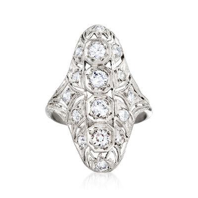 C. 1940 Vintage .80 ct. t.w. Diamond Filigree Ring in Platinum, , default