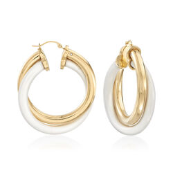 White Agate and 14kt Yellow Gold Hoop Earrings, , default