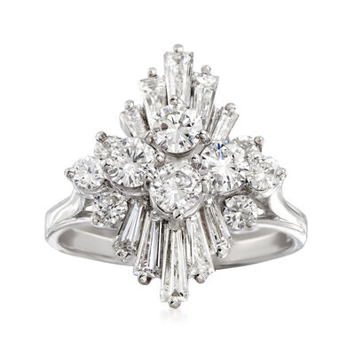 C. 1970 Vintage 2.15 ct. t.w. Diamond Cluster Ring in 14kt White Gold