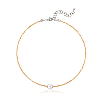 "ALOR ""Classique"" Yellow Stainless Steel Cable and 8mm Cultured Pearl Necklace, , default"
