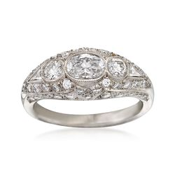 C. 1990 Vintage 1.57 ct. t.w. Multi-Cut Diamond Domed Ring in Platinum. Size 6.5, , default