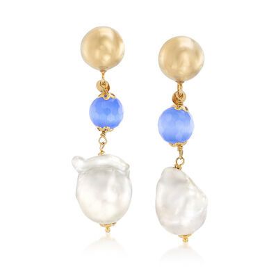 Italian 15x16mm Cultured Baroque Pearl and Blue Glass Bead Drop Earrings in 18kt Gold Over Sterling, , default