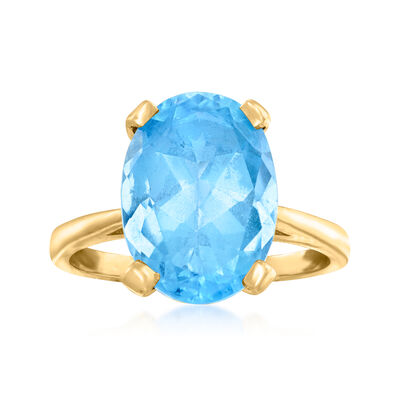 C. 1980 Vintage 2.25 Carat Swiss Blue Topaz Ring in 14kt Yellow Gold