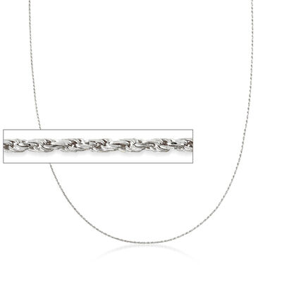 1mm 14kt White Gold Adjustable Rope Chain Necklace, , default