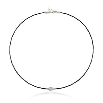 "ALOR ""Noir"" Diamond Station Black Cable Necklace With 18kt Two-Tone Gold. 17"", , default"