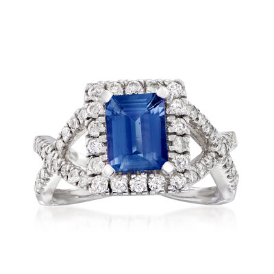 1.70 Carat Sapphire and .87 ct. t.w. Diamond Ring in 14kt White Gold