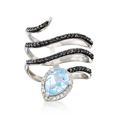 1.10 Carat Blue Topaz and .41 ct. t.w. Multi-Stone Spiral Ring in Sterling Silver, , default