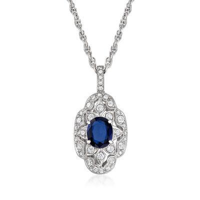 C. 1980 Vintage 1.10 Carat Sapphire and .50 ct. t.w. Diamond Floral Pendant Necklace in Platinum, , default