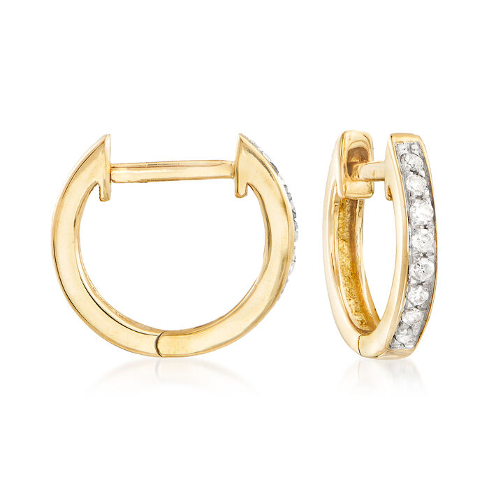 ".10 ct. t.w. Diamond Huggie Hoop Earrings in 14kt Yellow Gold. 3/8""., , default"