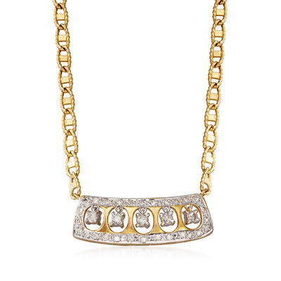 C. 1990 Vintage .65 ct. t.w. Diamond Necklace in 14kt Yellow Gold, , default