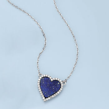 """Lapis and .35 ct. t.w. Diamond Heart Necklace in Sterling Silver. 18"""""""