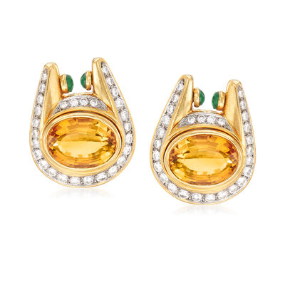 C. 1980. Vintage 21.00 ct. t.w. Citrine, 2.80 ct. t.w. Diamond and .60 ct. t.w. Emerald Horseshoe Drop Earrings in 18kt Yellow Gold, , default