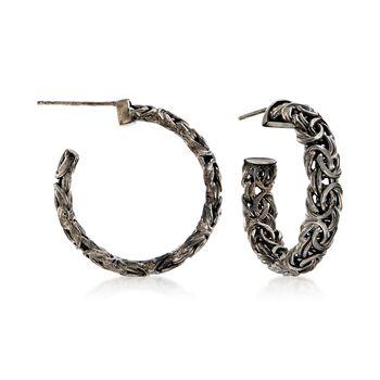 """Sterling Silver Byzantine Hoop Earrings in Black. 1 1/8"""", , default"""