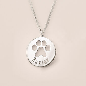 Sterling Silver Personalized Paw Print Pendant Necklace, , default