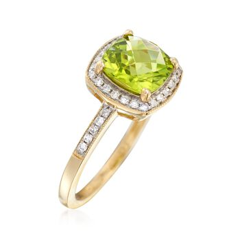2.40 Carat Peridot Ring With Diamond Accents in 14kt Yellow Gold, , default