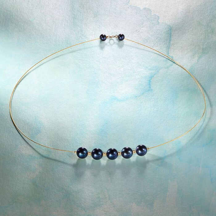 9-9.5mm Black Cultured Pearl Station Wire Necklace in 14kt Yellow Gold