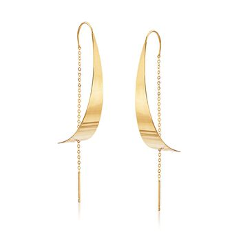 Italian 14kt Yellow Gold Curved Threader Earrings, , default