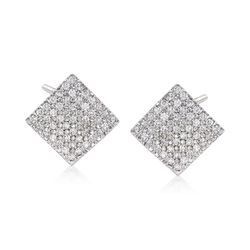 1.00 ct. t.w. Diamond Square Earrings in 14kt White Gold, , default