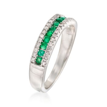 1.70 ct. t.w. Emerald and .20 ct. t.w. Diamond Ring in 14kt White Gold