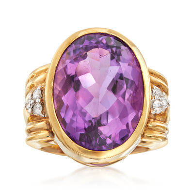 C. 1980 Vintage 16.90 Carat Amethyst Ring with Diamonds in 14kt Yellow Gold, , default