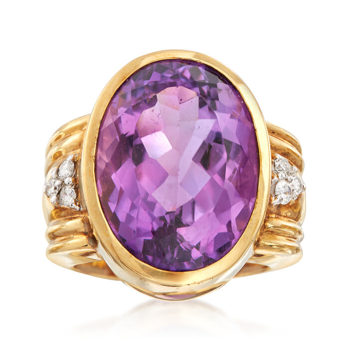 C. 1980 Vintage 16.90 Carat Amethyst Ring with Diamonds in 14kt Yellow Gold. Size 7, , default
