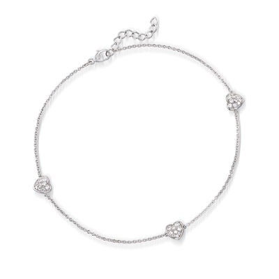.45 ct. t.w. CZ Heart Anklet in Sterling Silver