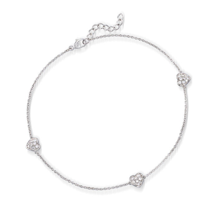 """.45 ct. t.w. CZ Heart Anklet in Sterling Silver. 10"""", , default"""